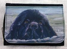 NEWFOUNDLAND DOG DENIM BLUE FABRIC  PURSE WALLET SANDRA COEN ARTIST PRINT