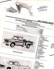 1961 DODGE TRUCKS 61 MOTOR'S ORIGINAL BODY PARTS LIST CRASH SHEETS M