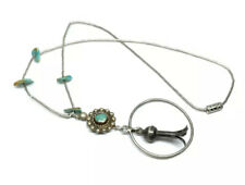 Old Southwest Handmade Sterling Mixed Metal Turquoise Blossom Pendant Necklace