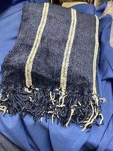 """Brand New Knit Throw Blanket 60""""X 70"""" Cotton and Rayon Blend Super Soft Blue"""