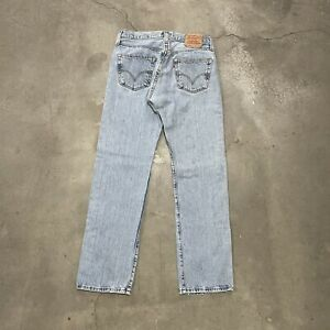 Vintage 501 Levis Button Fly Faded Blue Denim Straight Jeans 32x34