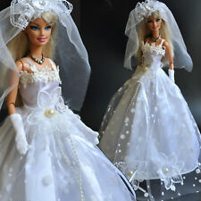 Nice 'WEDDING COLLECTION'-Barbie Doll White princes Dress (No.2) for xmas Gift