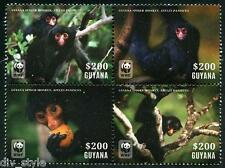 Spider Monkey WWF block of 4 mnh stamps Guyana 2014