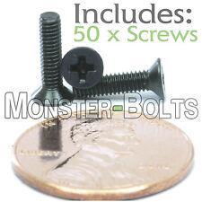 M2.5 x 10mm - Qty 50 - DIN 965 Phillips FLAT HEAD Machine Screw Black Ox  Type H