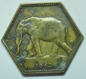mw16047 Belgian Congo; 2 Francs 1943 African Elephant KM#25