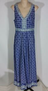 The Collection Debenhams Size 12 Blue Patterned Sleeveless Cotton Maxi Dress