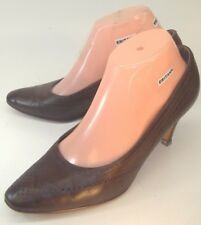 Bally Womens Heels Jeunesse Pumps SELMA US 5.5 Brown Leather Slip-On Wing Tip