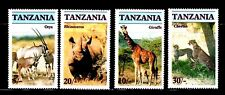 SELLOS FAUNA TANZANIA 1986 285/88 ORYX / RINOCERONTE /  GIRAFA / CHEETAH 4v.