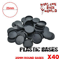 40PCS 25mm Plastic Round bases for Gaming Miniatures and other wargames