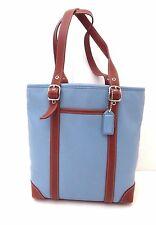 Coach Hampton Leather Tote Blue British Tan # 4462 Women's Satchel / Handbag Bag