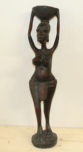 Vintage African hand carving wood statuette nude woman carry vessel on her head