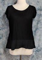Postmark Anthropologie Womens sz M Black Cap Sleeve Rayon Knit Top