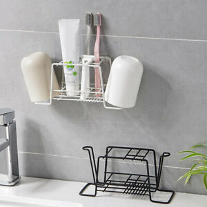Iron Kitchen Bathroom Shower Shelf Storage Vacuum Suction Basket Caddy Rack