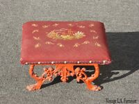 Vintage French Country Red Tapestry Footstool w Red Cast Iron Base