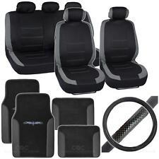14Pc Car Seat Cover, Floor Mat & Steering Wheel Cover - Venice Black / Gray