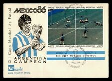 DR WHO 1986 ARGENTINA FDC WORLD SOCCER CUP SPORTS CACHET BLOCK  f95236