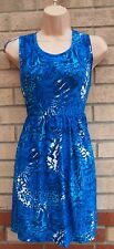 ORIGINALS BLUE ABSTRACT LEOPARD LYCRA A LINE SMOCK MINI TUNIC DRESS M L