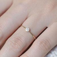 Minimalist White Sapphire Stackable Eternity Thin Ring 14K Gold Wedding Jewelry
