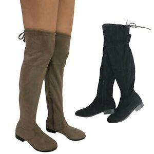 over knee Boots Elegant Faux Suede Shoes Long Ladies Womens booties Size 6-11