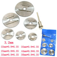 6x HSS Circular Wood Cutting Saw Blade Discs+1x Mandrel Drill For Rotary Tool