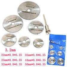 6Pcs HSS Circular Wood Cutting Saw Blade Discs+1x Mandrel Drill For Rotary Tool