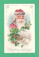 VINTAGE CHRISTMAS GEL POSTCARD SANTA CLAUS HOLLY SNOW COTTAGES
