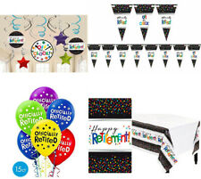 Officially Retired Swirls Banner Balloon Table cover Retirement Party Decoration