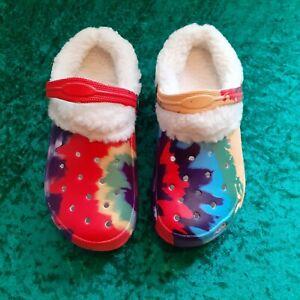 New Krazy Kicks Tie Dye Warm Lined Clogs Uk Size 3