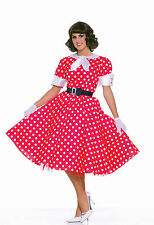 50's Housewife Costume Red Polka Dot Dress Sock Hop  Adult Size Standard