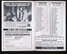 1993 Fosters Cup Carlton v Footscray Football Record Bulldogs won the game