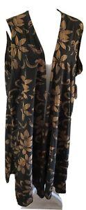 LuLaRoe Joy Vest Size XL Gold Brown Floral Over Green Black Duster Unicorn NWT