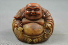 Collectable Handwork Decor Shoushan Stone Carve Gracious Buddha Wealthy Statue