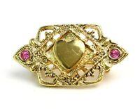 Vintage 60's Filigree Gold Tone Heart Pink Rhinestone Brooch Small Pin