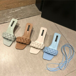 High Heels Pleated Slide Slippers Strappy Sandals Beach Pool Blue Women Shoes