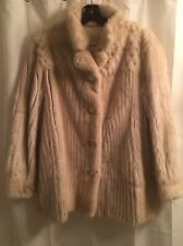 Real MINK Shiny FEMALE Cream PLATINUM BLOND White FUR Corded Coat JACKET M L