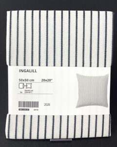 "Ikea INGALILL Pillow Cushion Cover 20""x20"" White/Gray Striped LATEST - New"