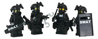 SWAT Team Police 4 man Squad Minifigures made with real LEGO(R) minifigure parts
