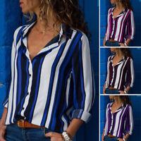 Women Buttons Down Shirt Tops Loose Stripe Office Ladies Business Blouse Plus