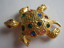 Many Rhinestone Gems Possibly Vintage Turtle Pin Gold Tone with