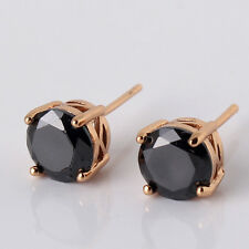 HUCHE Black Sapphire Crystal Yellow Gold Filled Studs Women Lady Party Earrings