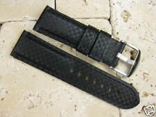 24mm XL Black CARBON FIBER Leather Strap Watch Band Pam 1950 Extra Large Long
