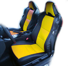 SCION FR-S 2013-2016 BLACK/YELLOW IGGEE S.LEATHER CUSTOM FIT FRONT SEAT COVERS T