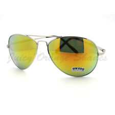 Aviator Sunglasses Classic Silver Metal Frame with Yellow Multicolor Lens