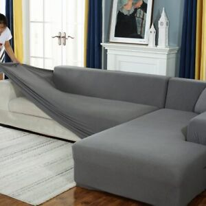 Plush L Shaped Sofa Cover for Living Room Elastic Furniture Slipcover Chaise