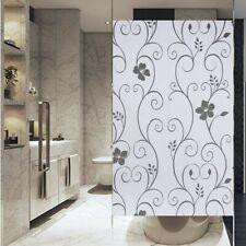 Black Flower Privacy Window Film Frosted Glass Film No Glue Anti-UV for Bathroom