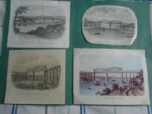 Antique Engravings(4).Royal Albert Bridge,Saltash.Cornwall/Devon.B/W/Tinted.