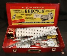 A. C. Gilbert Erector Set #4 1/2 in Metal Case w/ A-48 Spring Motor & MX House