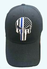 Punisher Skull Thin Blue Line Hat Cap Police Lives Matter Black Blue Men Adult