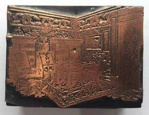 antique Vintage PRINTING PLATE *VICTORIAN LIBRARY ROOM * copper