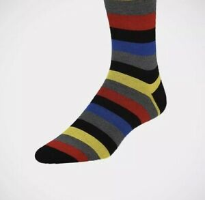 Bugatchi Wide Stripes On Black Socks NWT